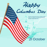 Gelukkig Verenigd Columbus Day Ship Holiday Poster Royalty-vrije Stock Foto's