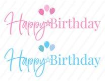Gelukkig Verjaardag Vector, Kleurrijk Word Ontwerp, Van letters voorzien geïsoleerd op witte achtergrond Feestvarken en Meisje stock illustratie