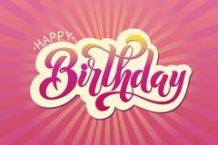 Gelukkig verjaardags typografisch ontwerp Stock Afbeelding