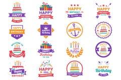 Gelukkig Verjaardags Vectorembleem voor banner vector illustratie