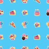 Gelukkig verjaardagsconcept Patroon zoete cake met kaarsen voor vieringspartij, kleurrijke cake, banketbakkerij cupcakes, vector illustratie