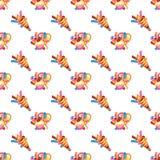 Gelukkig verjaardagsconcept Patroon zoete cake voor vieringspartij, cake, banketbakkerij cupcakes, kleurrijke ballon vector illustratie