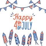 Gelukkig vierde van Juli-kaart stock illustratie