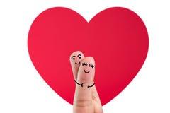 Gelukkig vingerpaar in liefde stock fotografie