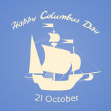 Gelukkig Vlak Columbus Day Ship Holiday Silhouette Royalty-vrije Stock Afbeeldingen