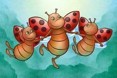 Gelukkig vliegend lieveheersbeestje Stock Fotografie