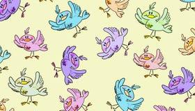 Gelukkig vogels naadloos patroon royalty-vrije illustratie