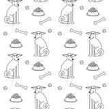 Gelukkig volwassen honden naadloos patroon Stock Afbeeldingen