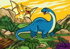 Gelukkig vrolijk beeldverhaal van brontosaurus en pterodactylus vector illustratie