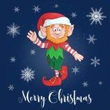 Gelukkig Vrolijk het elfkarakter van het Kerstmisbeeldverhaal Vector royalty-vrije illustratie
