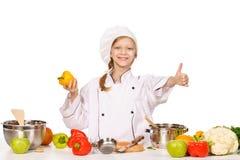 Gelukkig weinig chef-kok met veel groenten Royalty-vrije Stock Fotografie