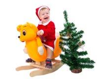Gelukkig is weinig jongen bereid om Nieuwjaar te vieren Stock Fotografie