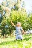 Gelukkig weinig jongen die vlinders in de tuin vangen stock afbeelding
