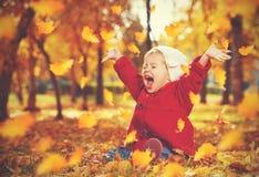 Gelukkig weinig kind, babymeisje die en in de herfst lachen spelen Stock Foto's
