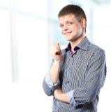 Gelukkig zakenmanportret. stock foto's