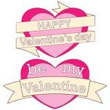 Gelukkig zijn mijn kleurrijke affiche, harten, linten en tekst van de valentijnskaartdag Stock Fotografie