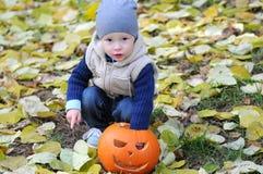 Gelukkig zit weinig jongen in GLB en vest met Halloween-pompoen die door gevallen bladeren wordt omringd stock foto's