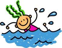 Gelukkig zwemmend meisje Stock Afbeeldingen
