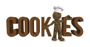 Gelukkige 3d bakker geweven als chocoladekoekje Stock Fotografie