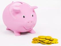 Gelukkige 3d piggybank en de muntstukken geven terug Stock Foto's