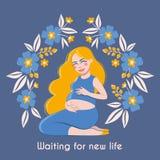 Gelukkige aanstaande moeder Groetkaart met zwangere mooie Vrouw in kader met bloemen stock illustratie