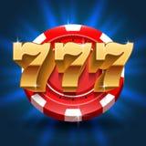 Gelukkige 777 aantallen als achtergrond van de winstgroef Vector het gokken en casinoconcept Stock Fotografie