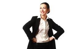 Gelukkige aantrekkelijke bedrijfsvrouw Stock Foto's
