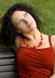 Gelukkige aantrekkelijke vrouw Stock Foto's