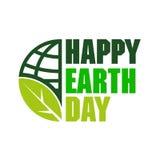 Gelukkige Aardedag met bolpictogram en blad Stock Afbeeldingen