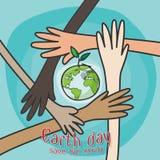 Gelukkige aardedag, sparen het wereldconcept handen van mensen van verschillende nationaliteiten die voor besparingsmilieu samenw vector illustratie