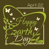 Gelukkige Aardedag 22 Th April Typografische Ontwerpaffiche Stock Afbeelding