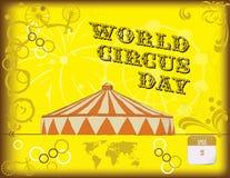 Gelukkige affiche tegen de Dag van het Wereldcircus Stock Afbeeldingen
