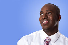 Gelukkige Afrikaanse Amerikaanse bedrijfsmens Stock Afbeeldingen