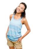 Gelukkige Afrikaanse Amerikaanse die vrouw op witte achtergrond wordt geïsoleerd Stock Foto's