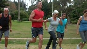 Gelukkige atletische groep die bij het park lopen stock footage