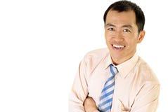 Gelukkige Aziatische zakenmanglimlach royalty-vrije stock foto