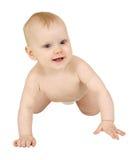 Gelukkige baby die op witte achtergrond wordt geïsoleerd¯ Stock Fotografie
