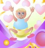 Gelukkige baby met liefdepictogram Stock Foto's