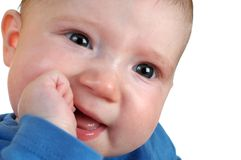 Gelukkige baby. Ondiepe DOF royalty-vrije stock afbeeldingen