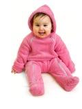 Gelukkige baby in roze Royalty-vrije Stock Foto's