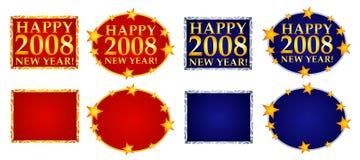 Gelukkige Banners of Emblemen 3 van het Nieuwjaar Stock Fotografie