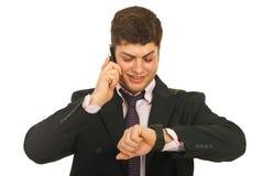 Gelukkige bedrijfs mobiele mens telefonisch royalty-vrije stock foto