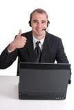 Gelukkige Bedrijfsmens in een call centre Stock Foto