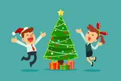 Gelukkige bedrijfsmensen die Kerstmispartij vieren Stock Foto's