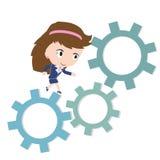 Gelukkige bedrijfsvrouw die op toestel, bedrijfs het werk concept lopen Royalty-vrije Stock Afbeelding