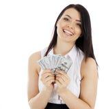 Gelukkige bedrijfsvrouw met contant geld Stock Afbeelding