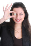 Gelukkige bedrijfsvrouw met euro cent Stock Afbeelding