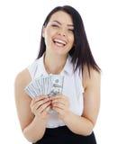 Gelukkige bedrijfsvrouw met in hand contant geld Stock Foto's