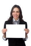 Gelukkige bedrijfsvrouwen met lege raad Stock Foto's