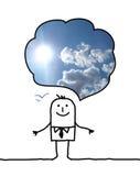 Gelukkige beeldverhaalmens die over blauwe hemel denken Royalty-vrije Stock Afbeelding